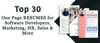 Top 30 One Page Resumes for Software Developers, Marketing, HR, Sales and More