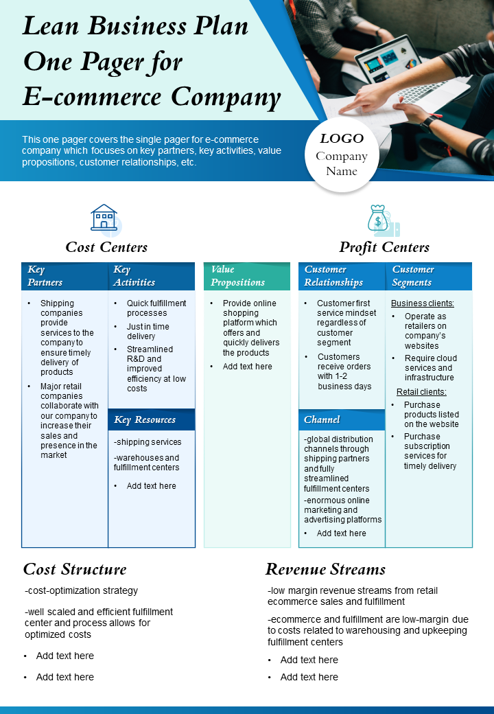 Lean Business Plan One Pager For E Commerce Company Presentation Report Infographic PPT PDF Document