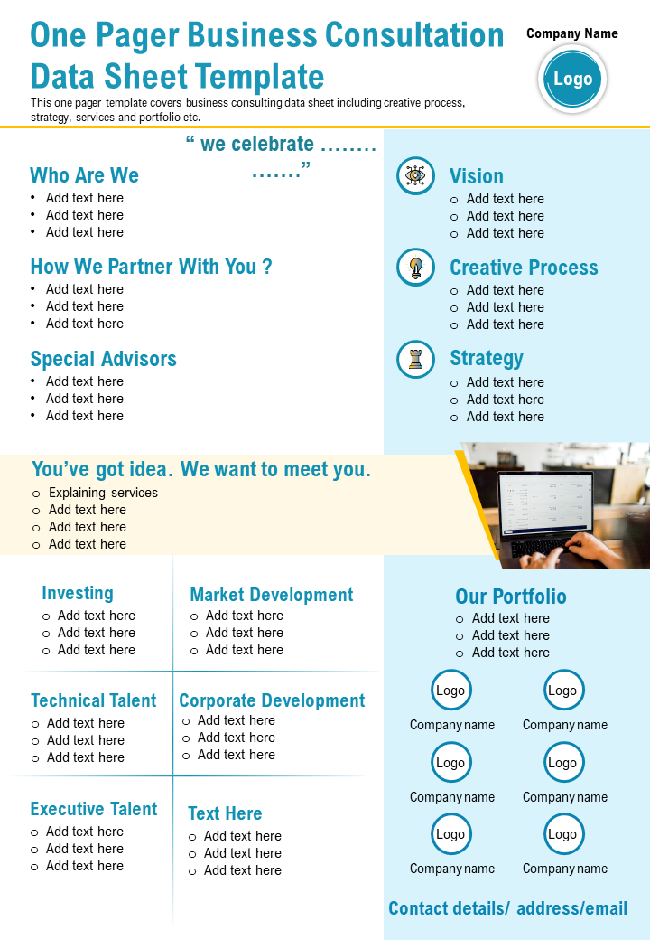 One Pager Business Consultation Data Sheet Template