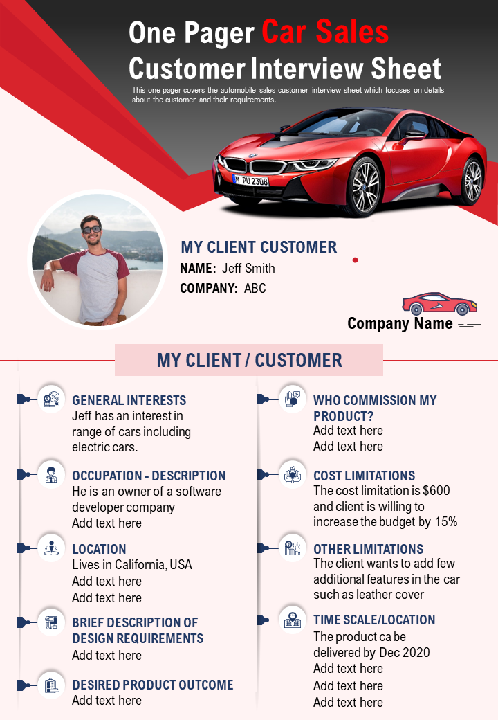 One Pager Car Sales Customer Interview Sheet Presentation Report