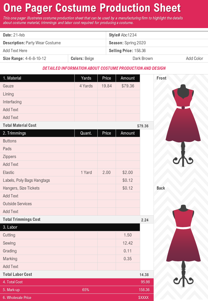 One Pager Costume Production Sheet Presentation Report Infographic
