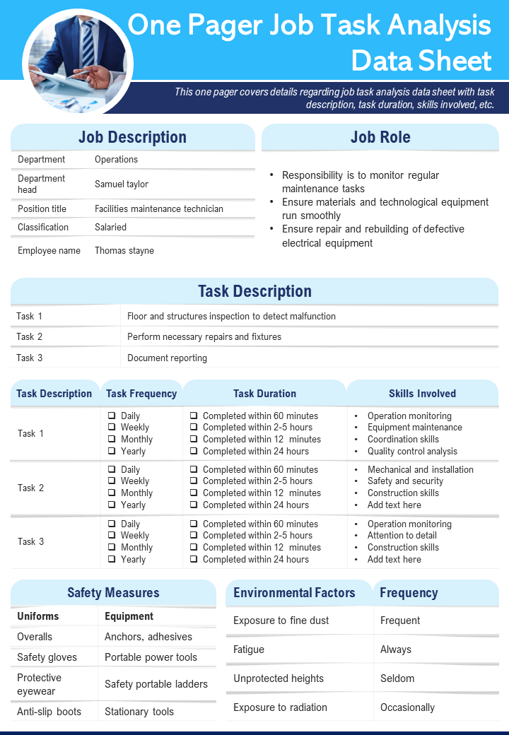 One Pager Job Task Analysis Data Sheet Presentation Report Infographic PPT