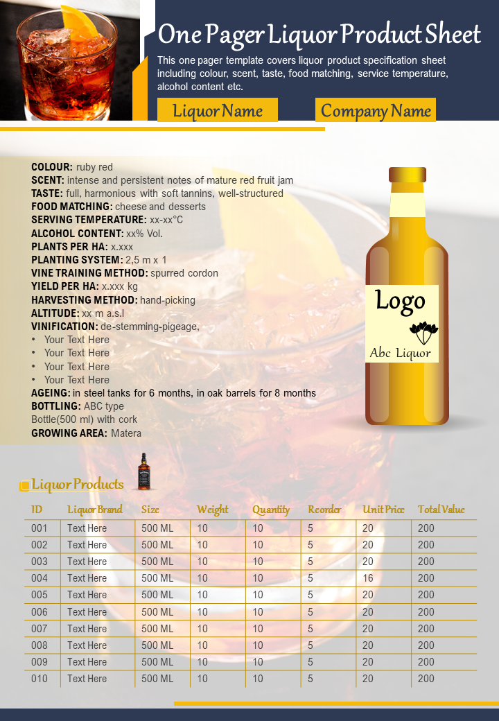One Pager Liquor Product Sheet Presentation Report Infographic PPT