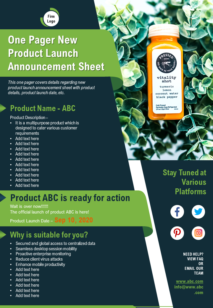 One Pager New Product Launch Announcement Sheet Presentation Report Infographic PPT