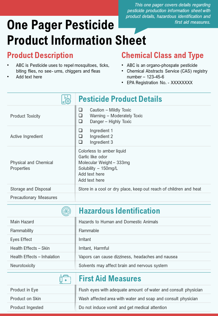 One Pager Pesticide Product Information Sheet Presentation Report Infographic PPT