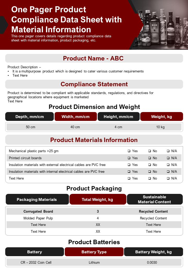 One Pager Product Compliance Data Sheet With Material Information Report PPT