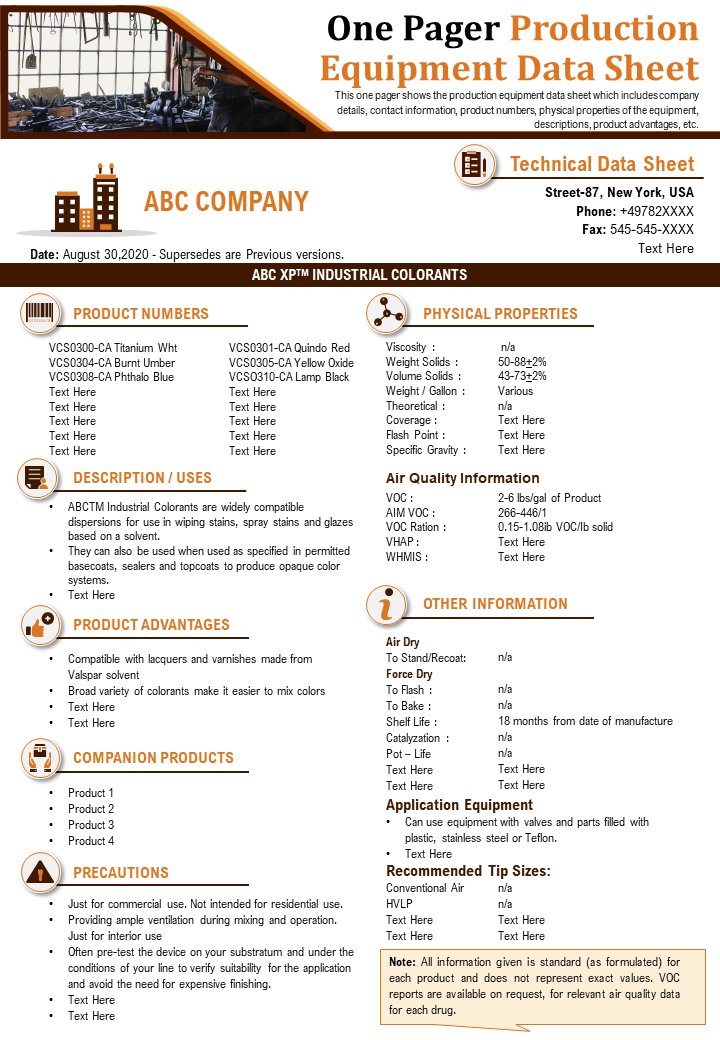 One Pager Production Equipment Data Sheet Presentation Report Infographic PPT