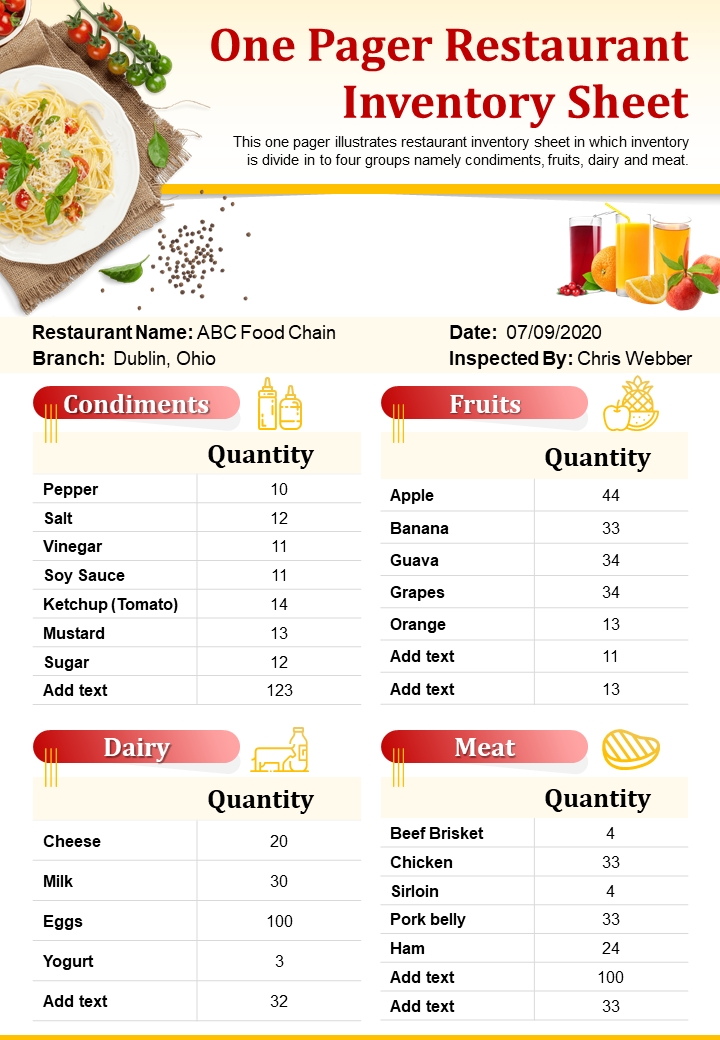 One Pager Restaurant Inventory Sheet Presentation Report Infographic PPT PDF Document