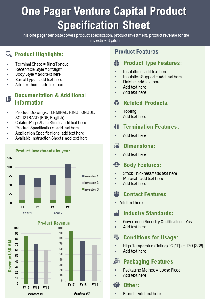 One Pager Venture Capital Product Specification Sheet Presentation Report Infographic PPT