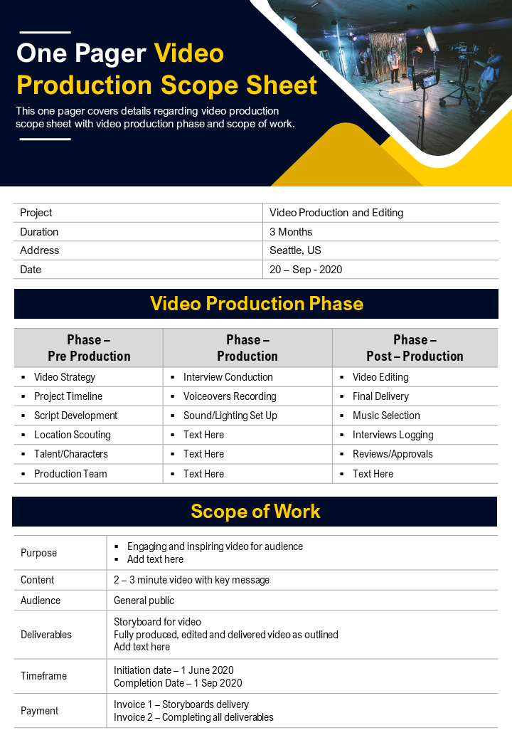 One Pager Video Production Scope Sheet Presentation Report Infographic PPT