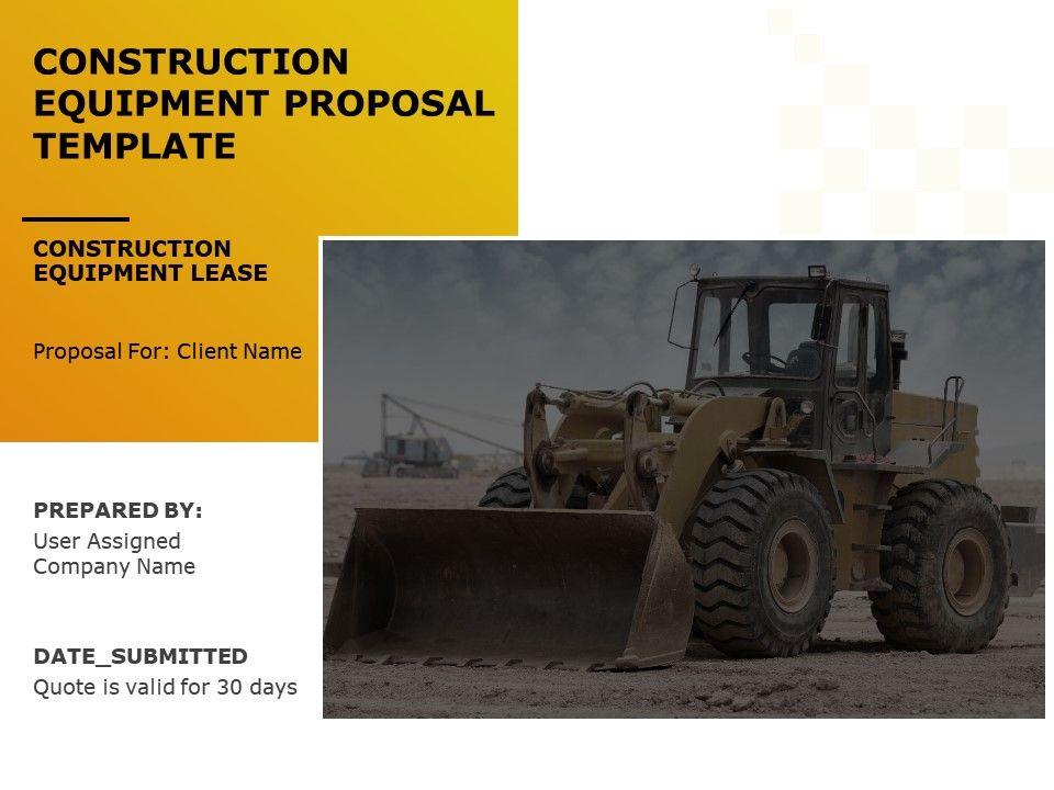Construction Equipment Proposal Template