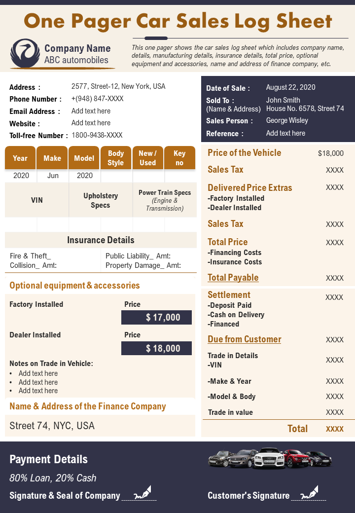 One Pager Car Sales Log Sheet Presentation Report Infographic PPT PDF Document