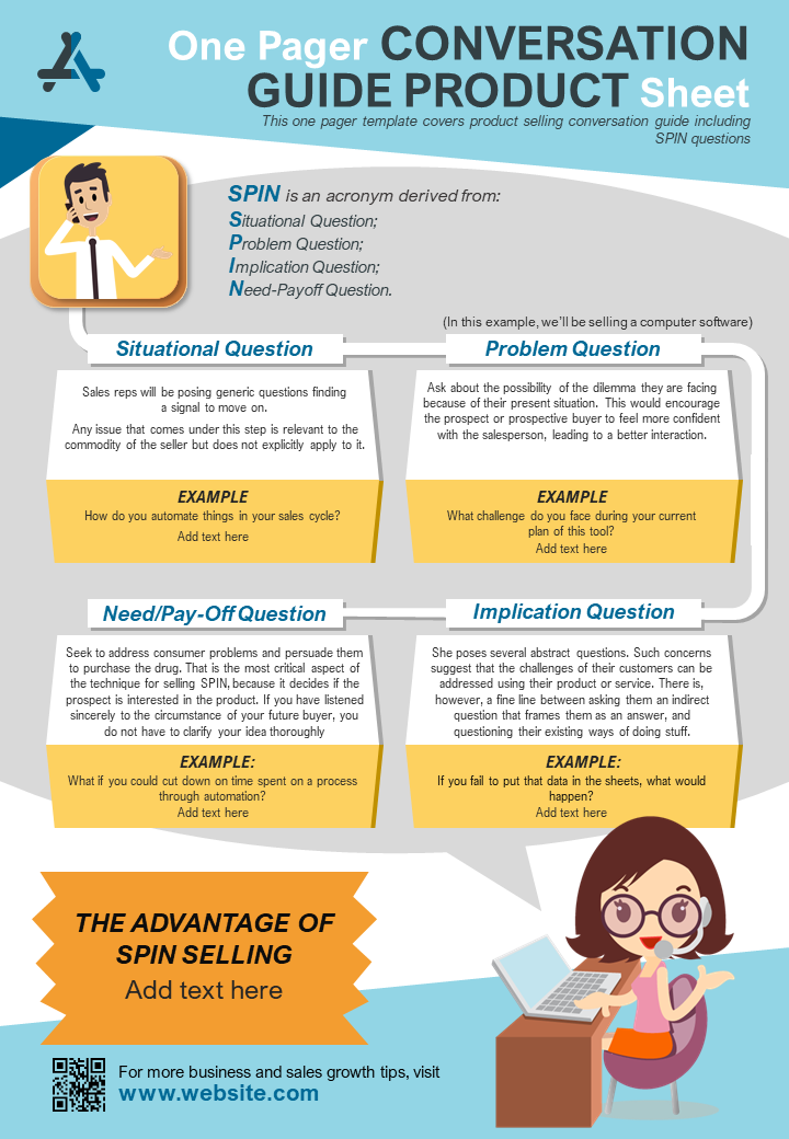 One Pager Conversation Guide Product Sheet Presentation Report Infographic PPT