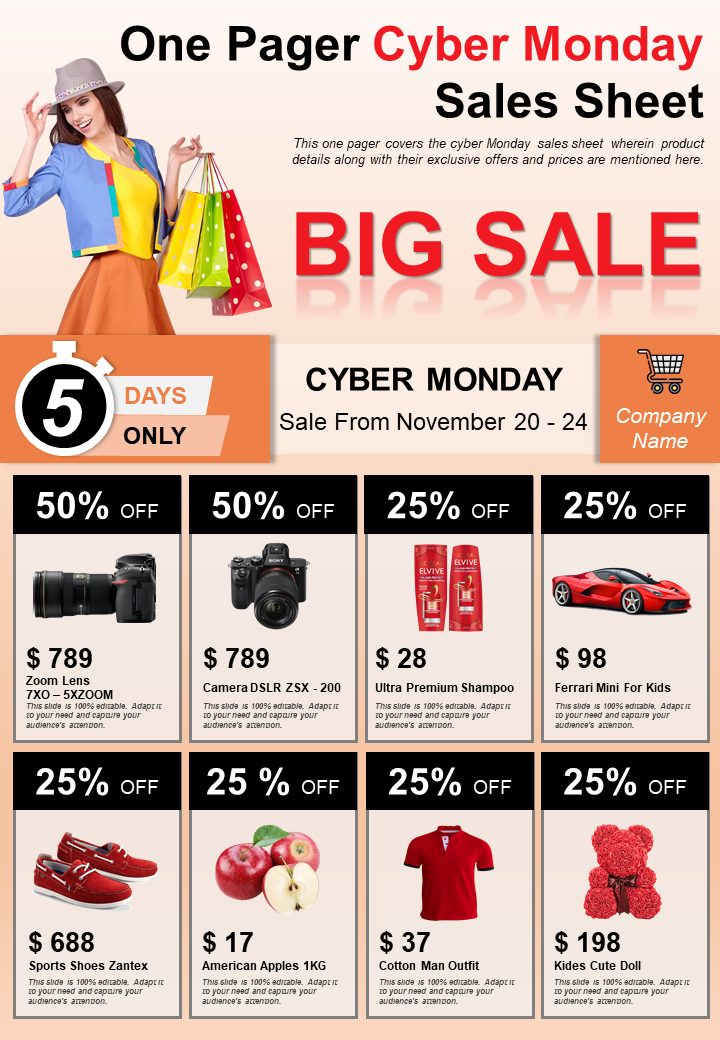 One Pager Cyber Monday Sales Sheet Presentation Report Infographic PPT PDF Document