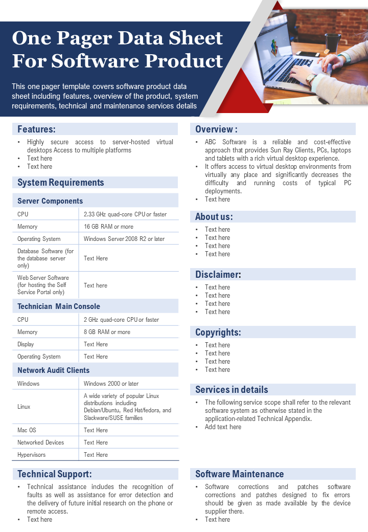 One Pager Data Sheet For Software Product Presentation Report Infographic PPT