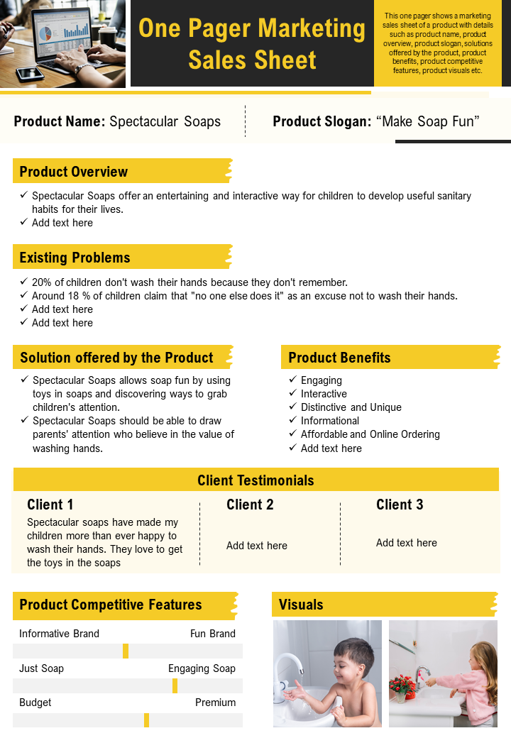 One Pager Marketing Sales Sheet Presentation Report Infographic PPT