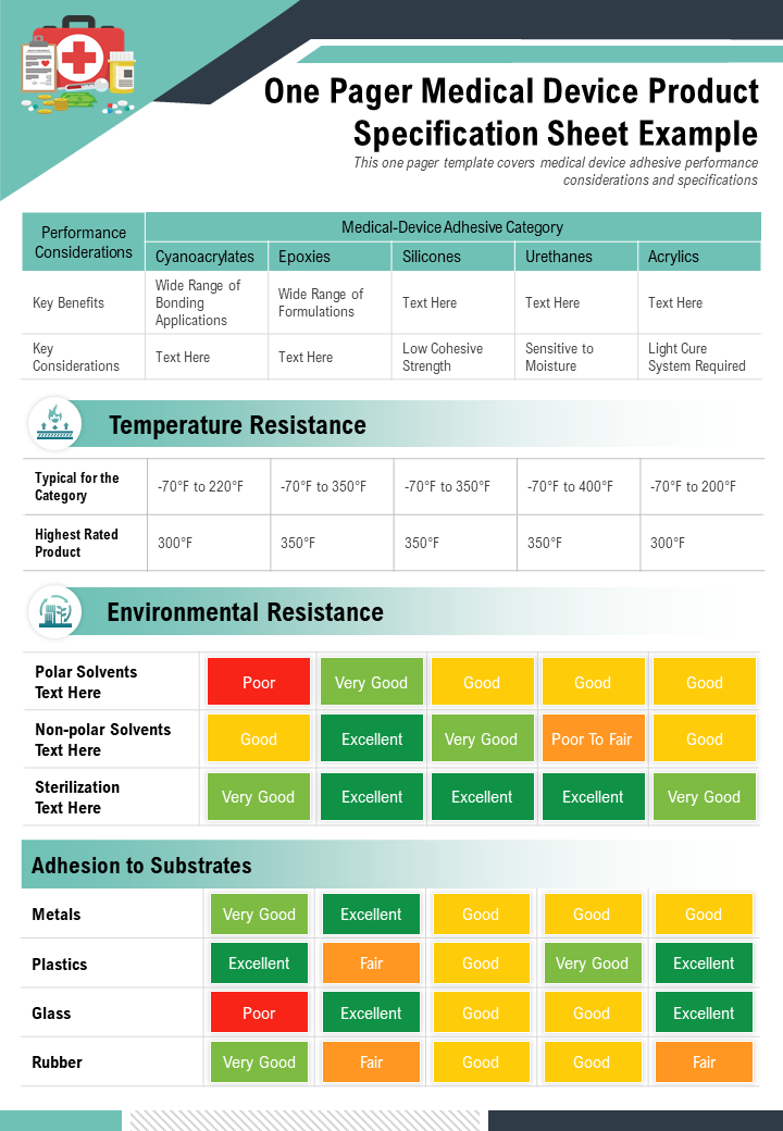 One Pager Medical Device Product Specification Sheet Example Presentation Report Infographic PPT