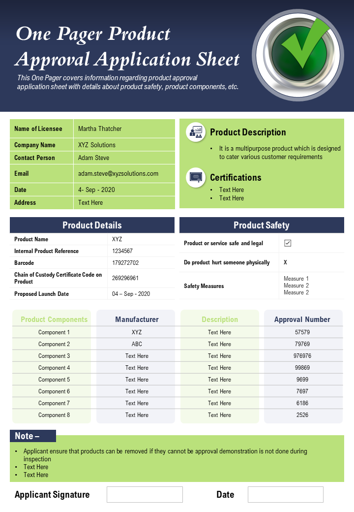 One Pager Product Approval Application Sheet Presentation Report Infographic PPT