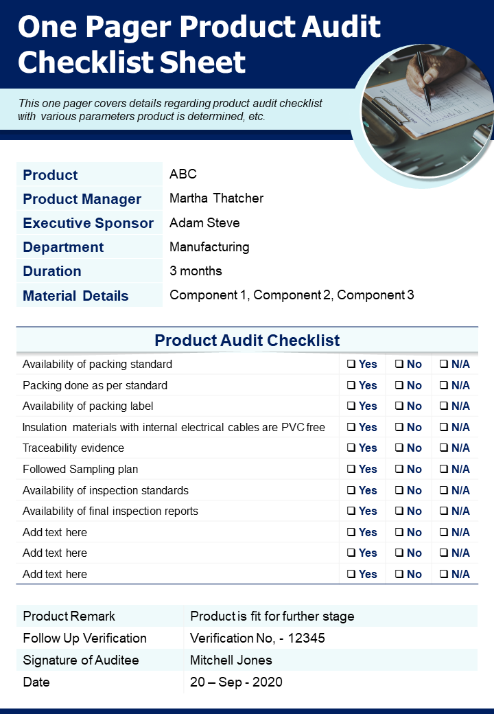 One Pager Product Audit Checklist Sheet Presentation Report Infographic PPT