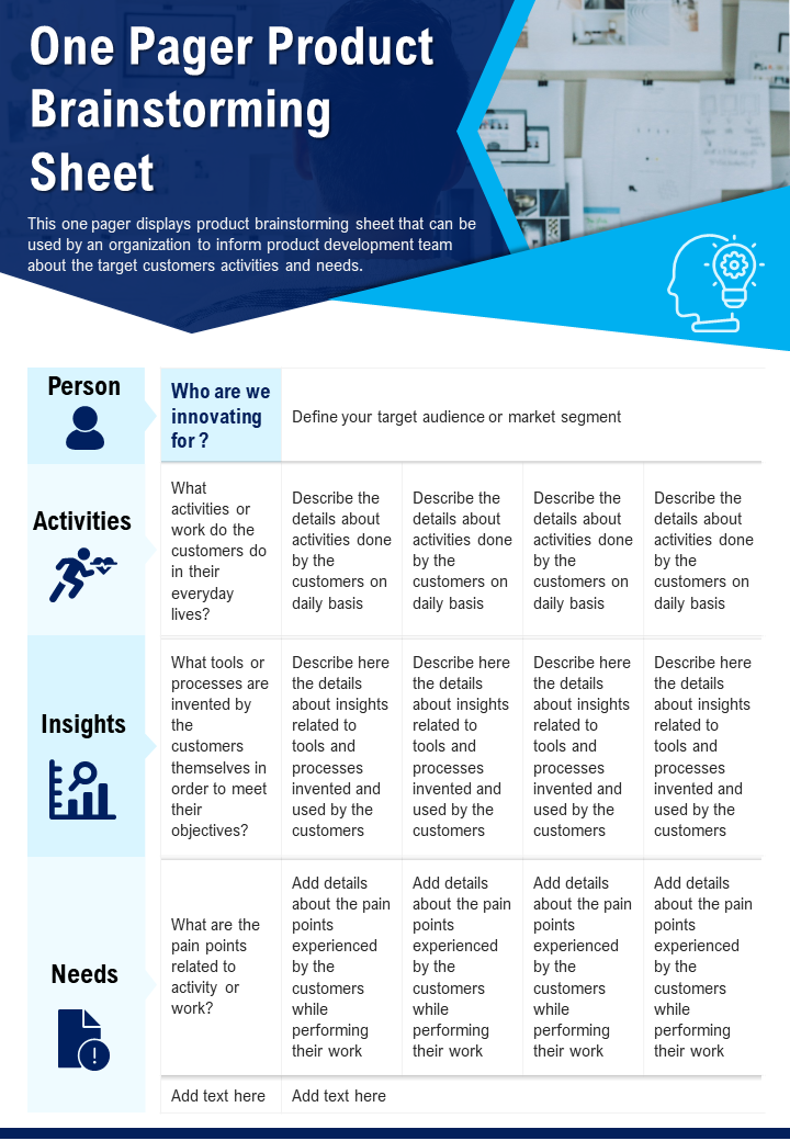 One Pager Product Brainstorming Sheet Presentation Report Infographic PPT