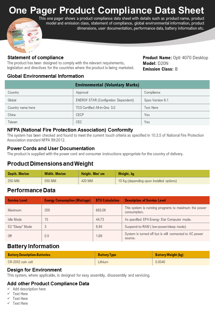 One Pager Product Compliance Data Sheet Presentation Report Infographic PPT