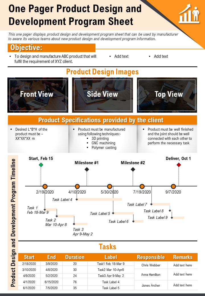 One Pager Product Design And Development Program Sheet