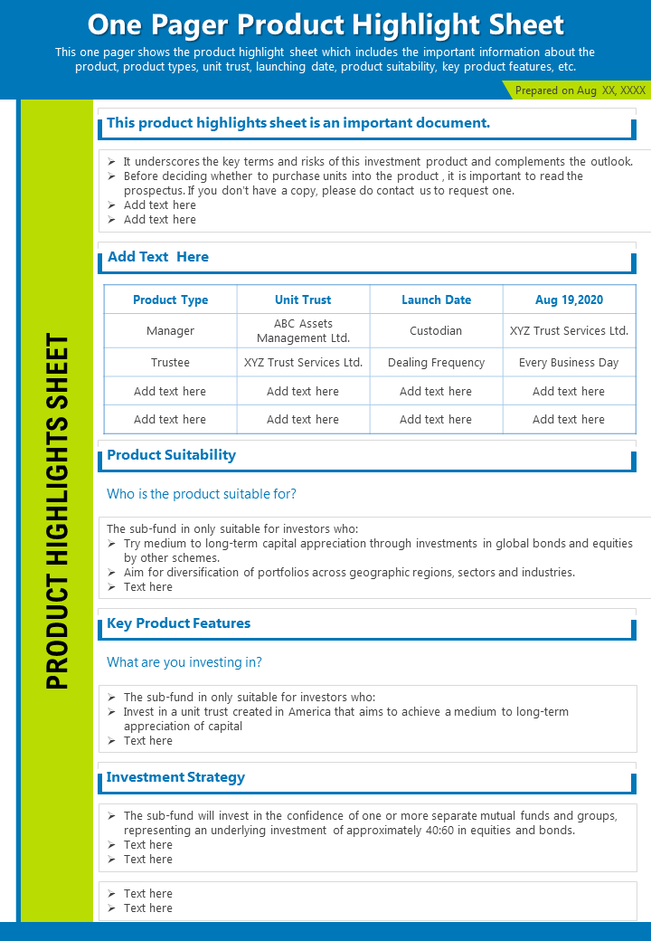 One Pager Product Highlight Sheet Presentation Report Infographic PPT