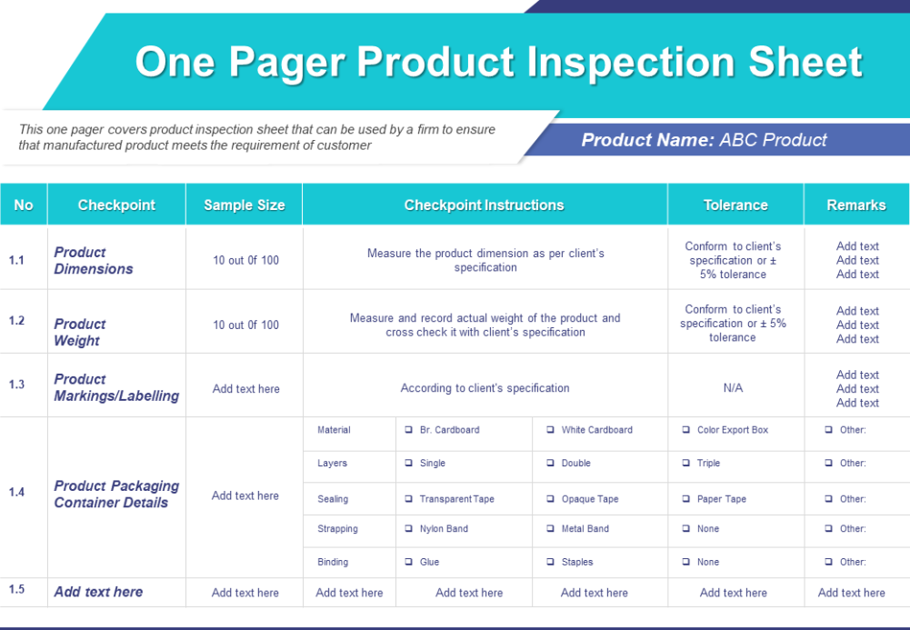 One Pager Product Inspection Sheet Presentation Report Infographic PPT