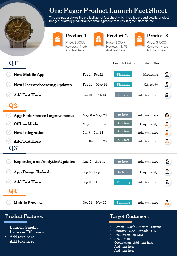 One Pager Product Launch Fact Sheet Presentation Report Infographic PPT
