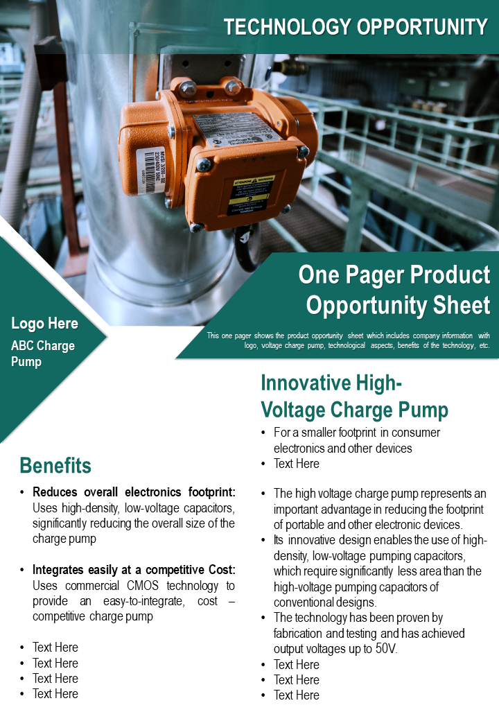 One Pager Product Opportunity Sheet Presentation Report Infographic PPT