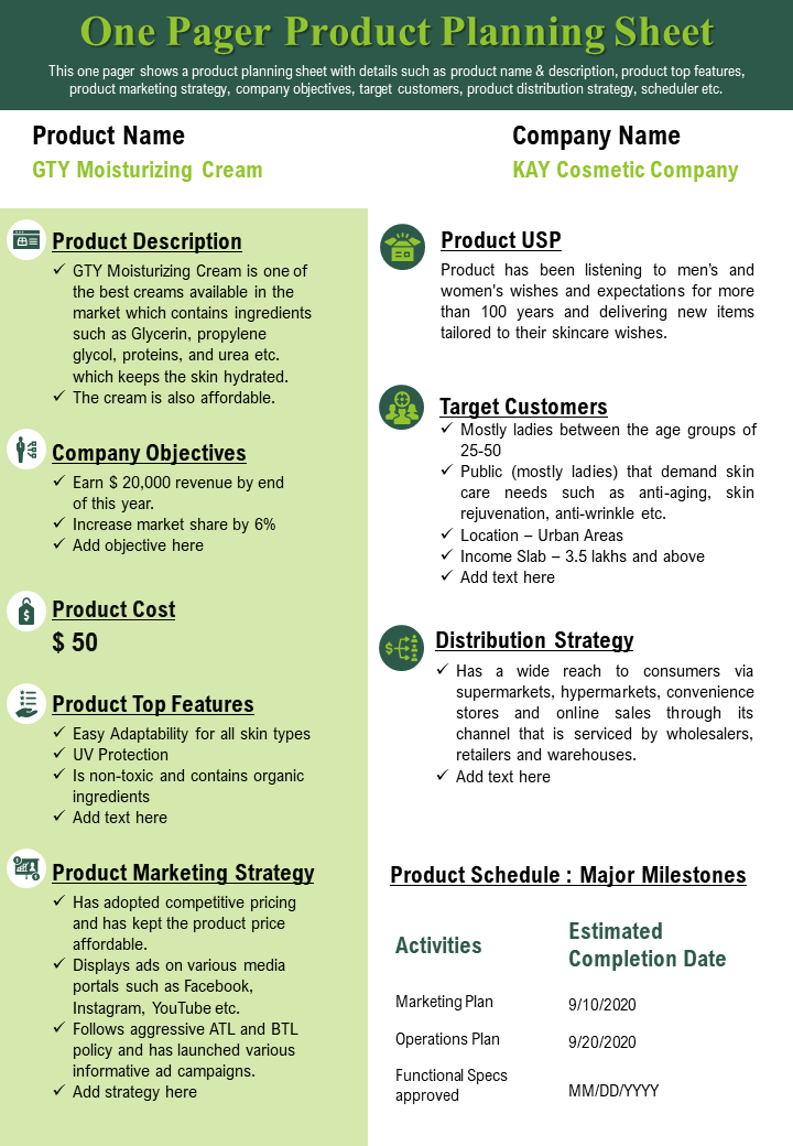 One Pager Product Research Planning Sheet Presentation Report Infographic PPT