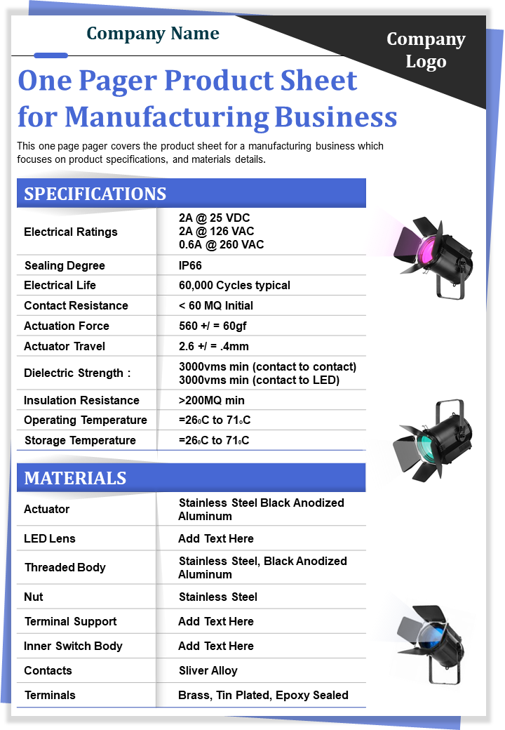 One Pager Product Sheet For Manufacturing Business Presentation Report Infographic PPT