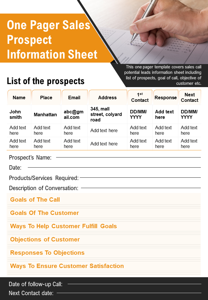 One Pager Sales Prospect Information Sheet Presentation Report Infographic PPT
