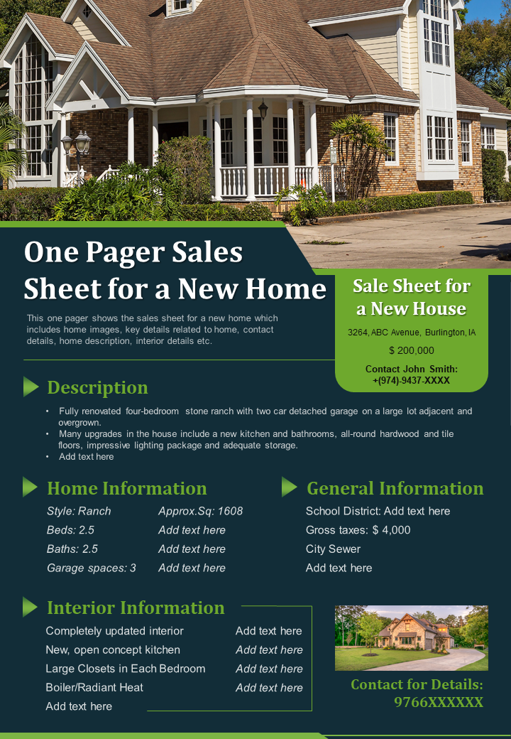 One Pager Sales Sheet For A New Home Presentation Report Infographic PPT