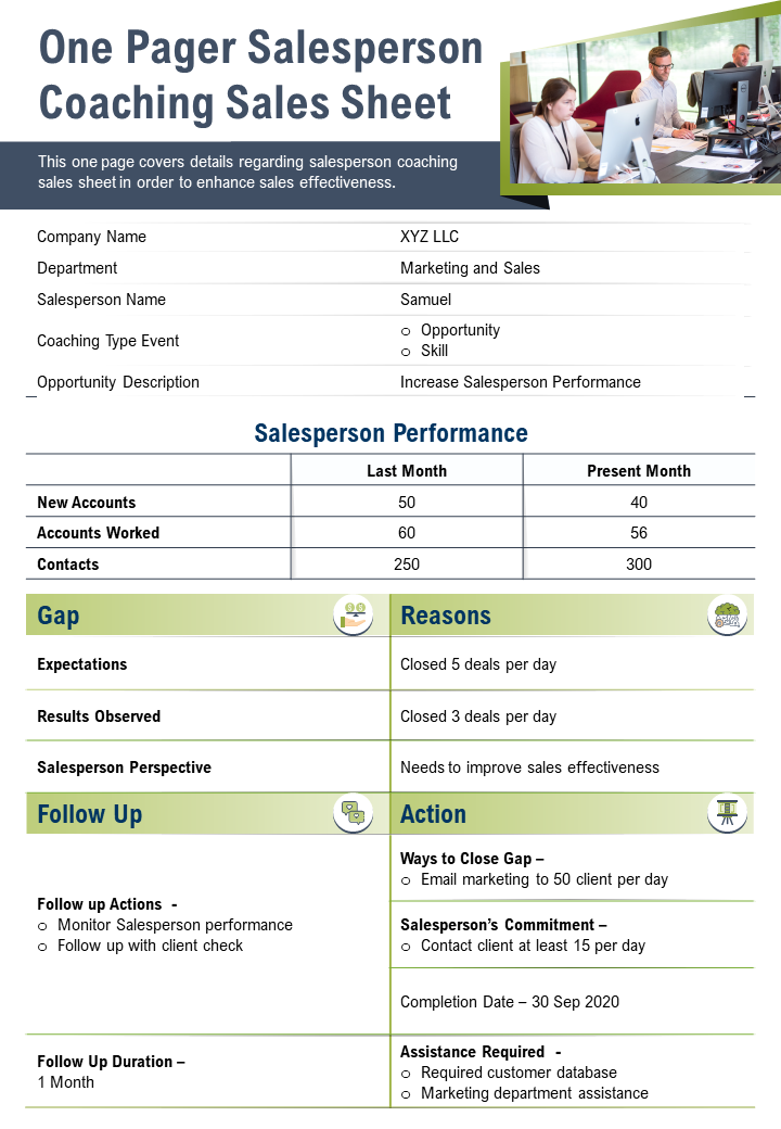 One Pager Salesperson Coaching Sales Sheet Presentation Report Infographic PPT