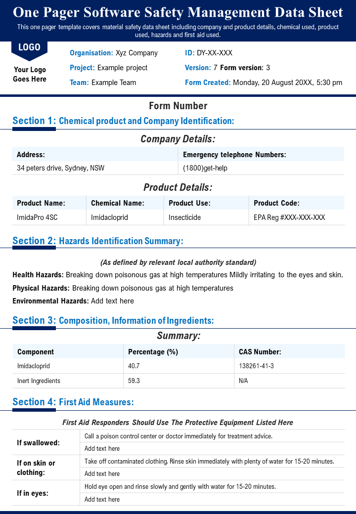 One Pager Software Safety Management Data Sheet Presentation Report Infographic PPT