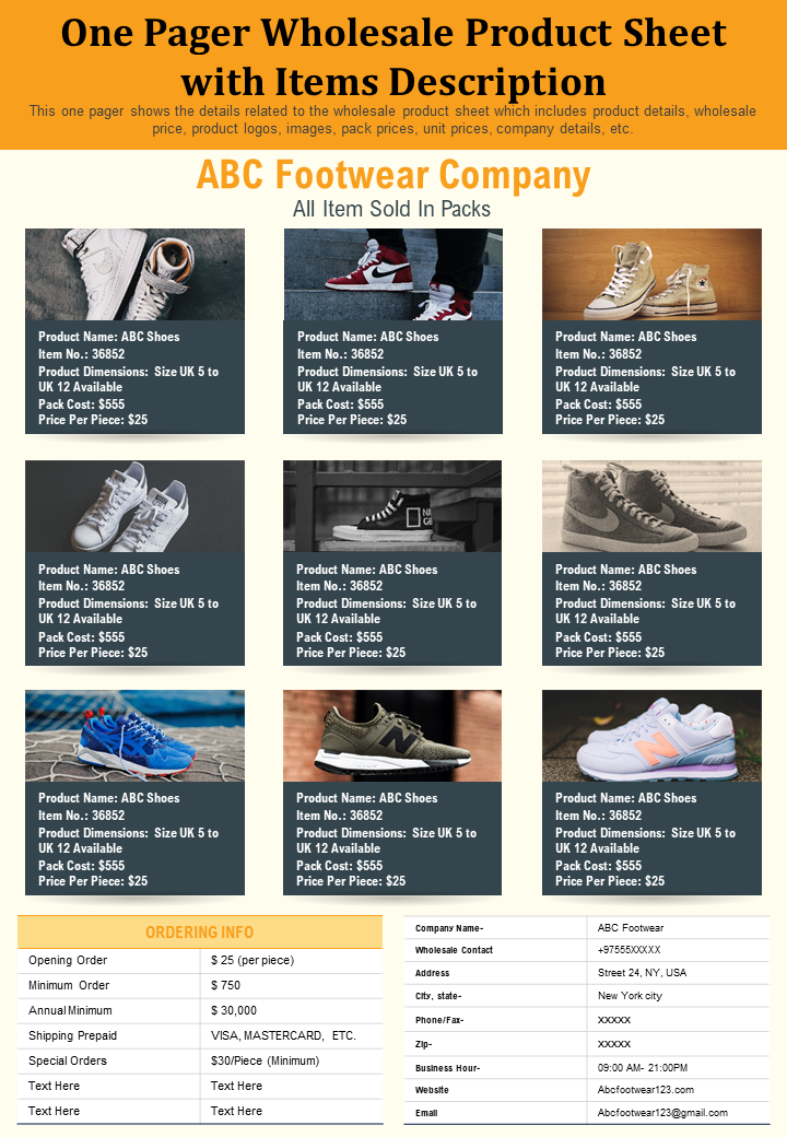 One Pager Wholesale Product Sheet With Items Description Presentation