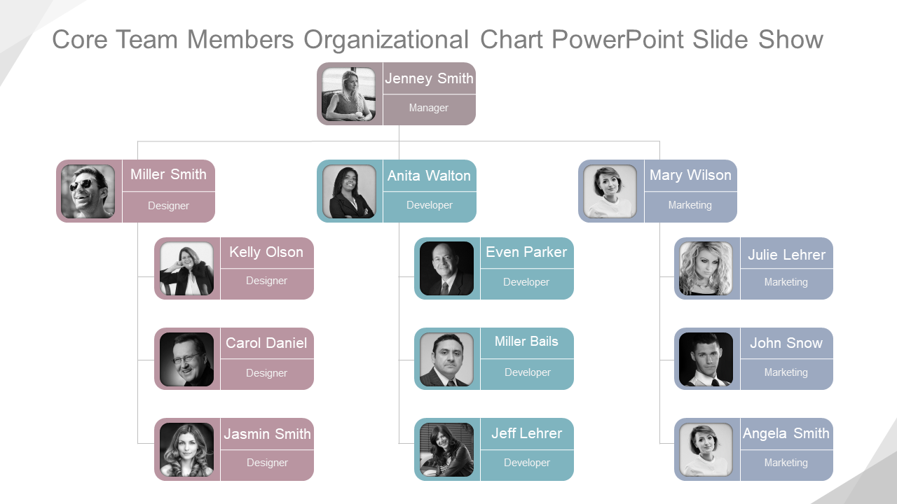 Core Team Members Organizational Chart