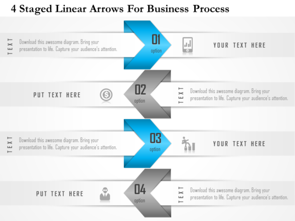 4 Staged Linear Arrows For Business Process PowerPoint Template
