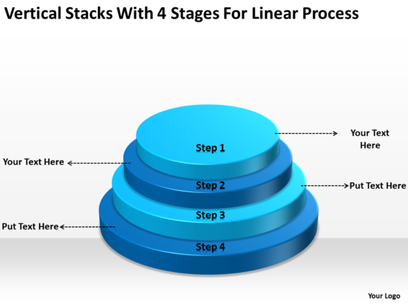 Business Architecture Diagrams Stacks With 4 Stages For Linear Process