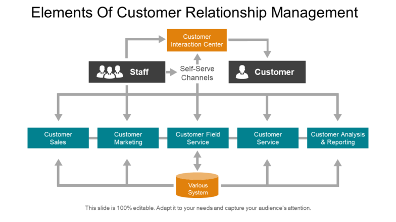 Elements Of Customer Relationship Management PowerPoint Topics