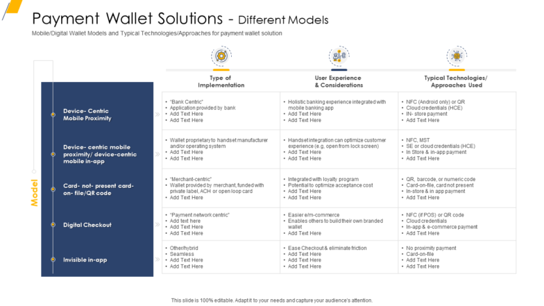 Payment Wallet Solutions Different Models PPT Example File