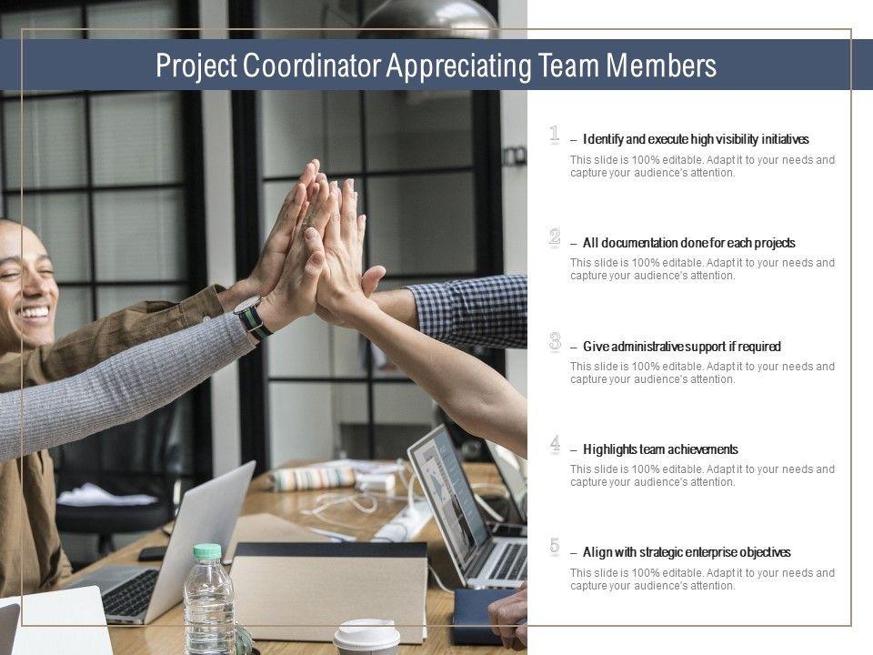 Project Coordinator Appreciating Team Members