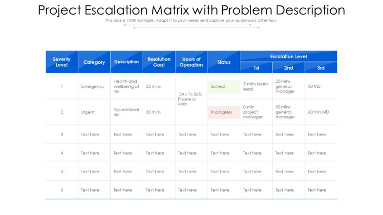Project Escalation Matrix With Problem Description