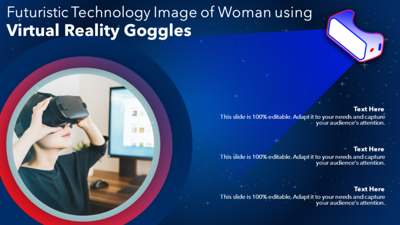 Futuristic Technology Image Of Woman Using VR Goggles