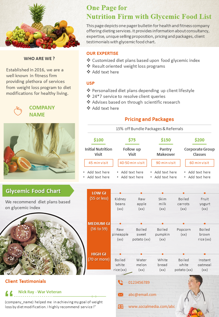 One-Page of Nutrition Firm with Glycemic Food List Template