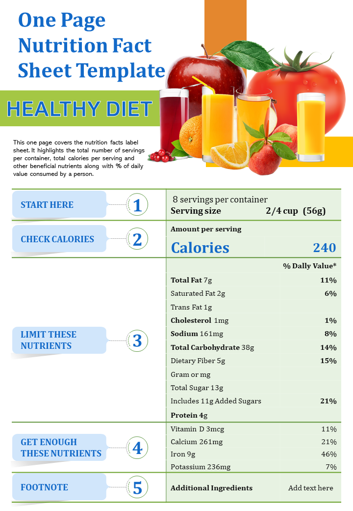 One-Page Nutrition Fact Sheet Template