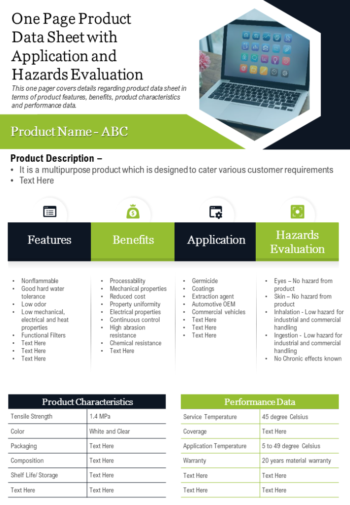 One Page Product Data Sheet