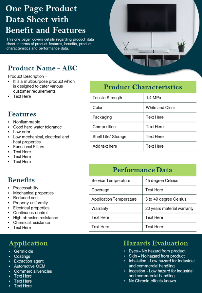 One Page Product Data Sheet with Benefits