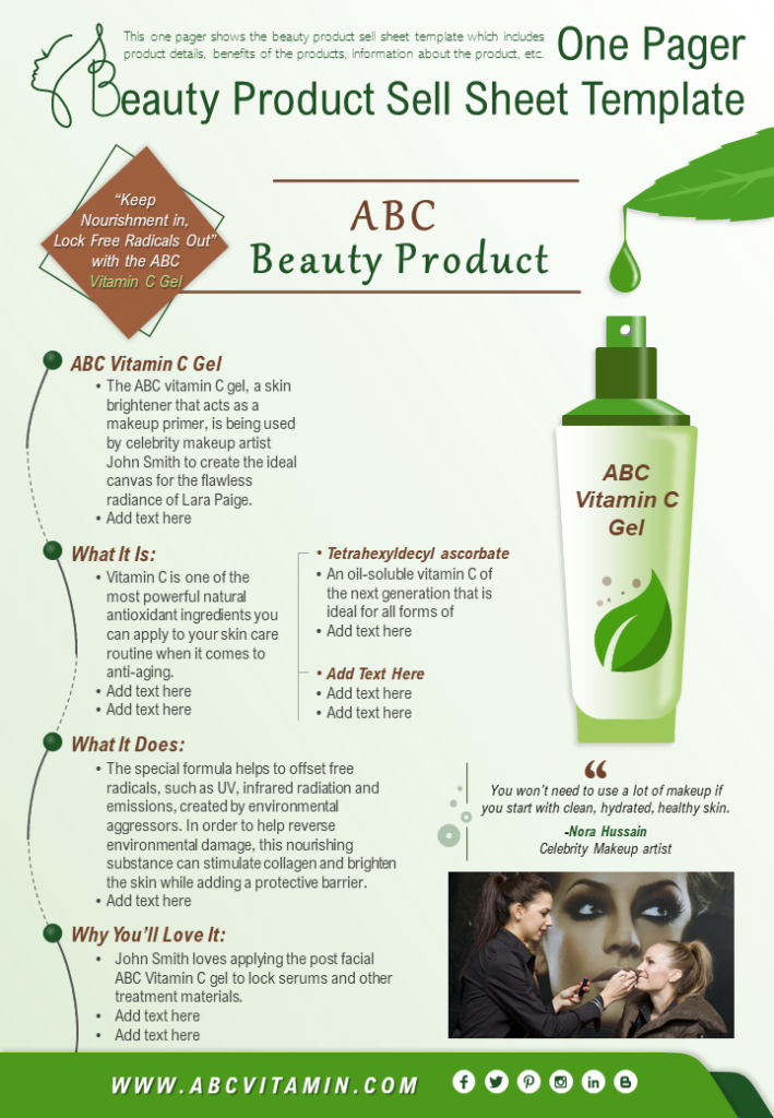 One Pager Beauty Product Sell Sheet